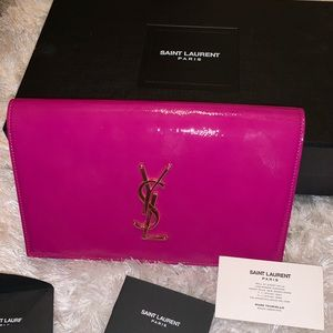 YSL patent leather pink clutch